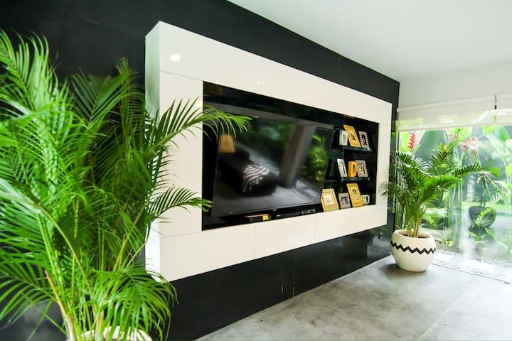 Huge wide screen TV with international channels