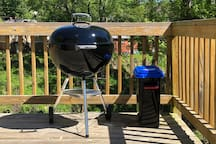 Weber charcoal barbecue grill with watertight container of charcoal. All ready to grill!