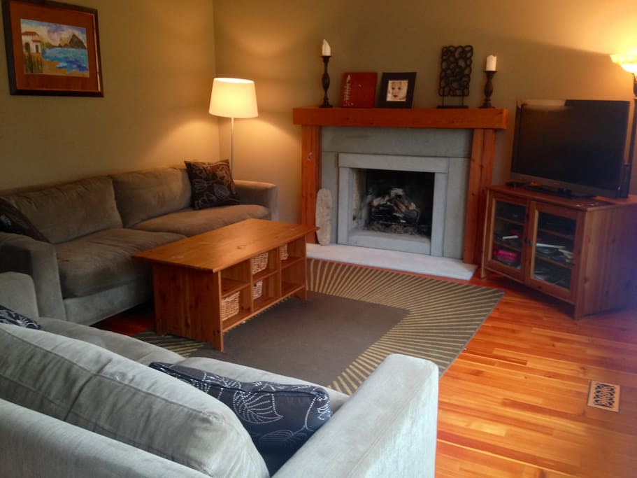 Living room with many channels, Netflix, dvd player, wifi, gas fireplace