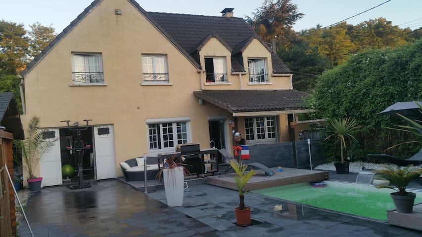 Chambre privé av piscine à 10 m CDG, parc astérix. - fosses - Villa