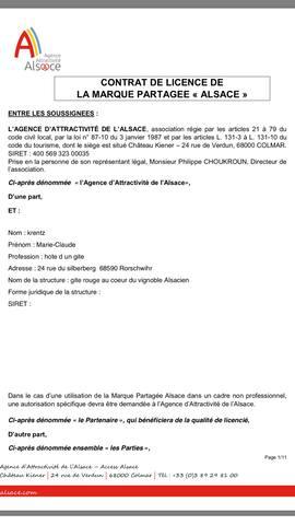 "Contrat de licence avec la marque "" Alsace """
