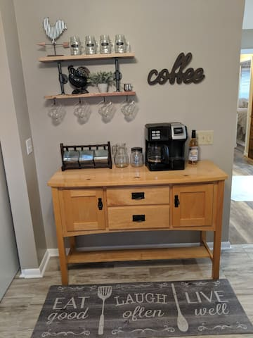 The Coffee Station. We supply everything you need for a great cup of Hot Coffee. Complimentary Coffee , Tea, Creamers, sugar and more.