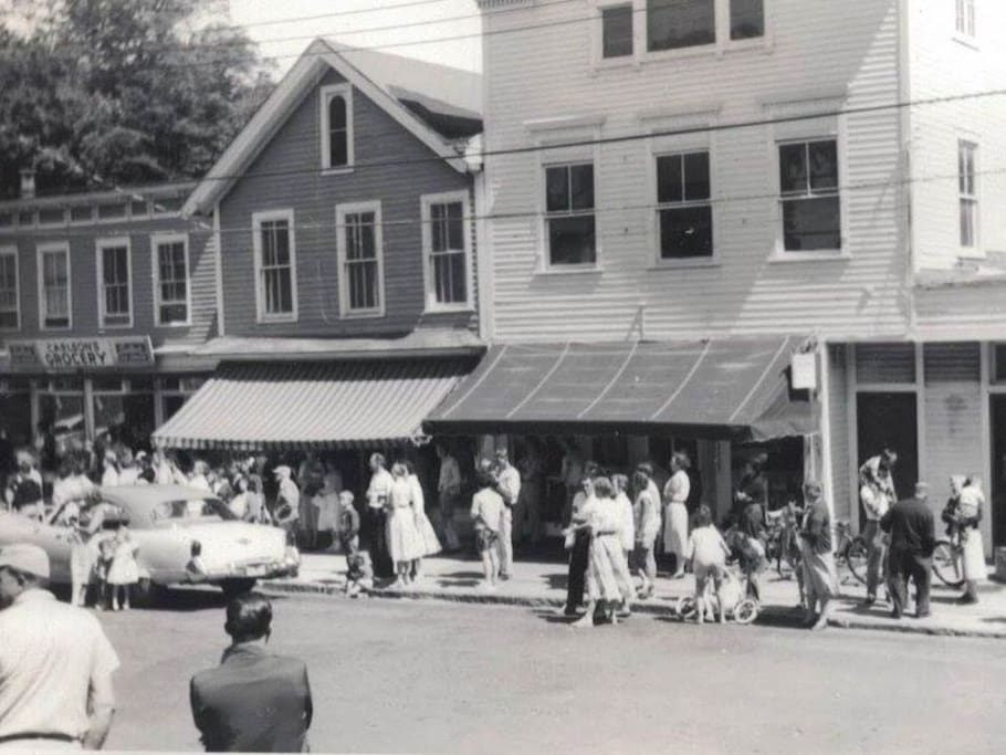 "Our building (center-left w/ peaked roof) during the filming of ""It Happened to Jane"" in June 1958"