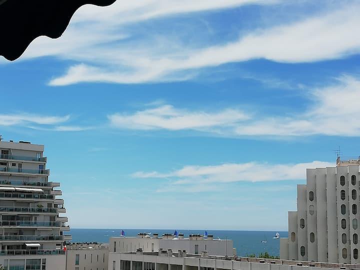 Le Sémaphore-studio clim-parking-terrasse vue mer