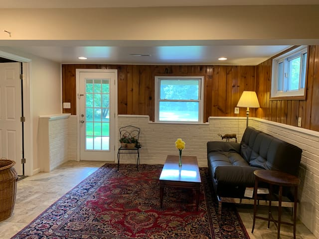 Lower level with full Luxury bath, backing to an awesome Lake View ,   with a comfortable couch that converts to a sleeper.   more furnishing in progress.