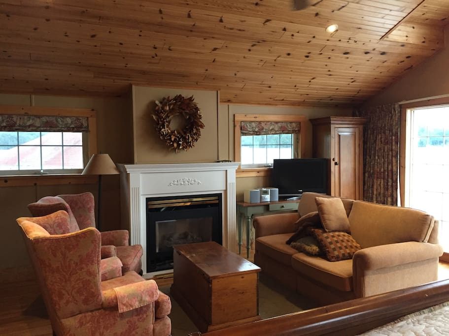 Living Area with Propane Fireplace and satellite tv.