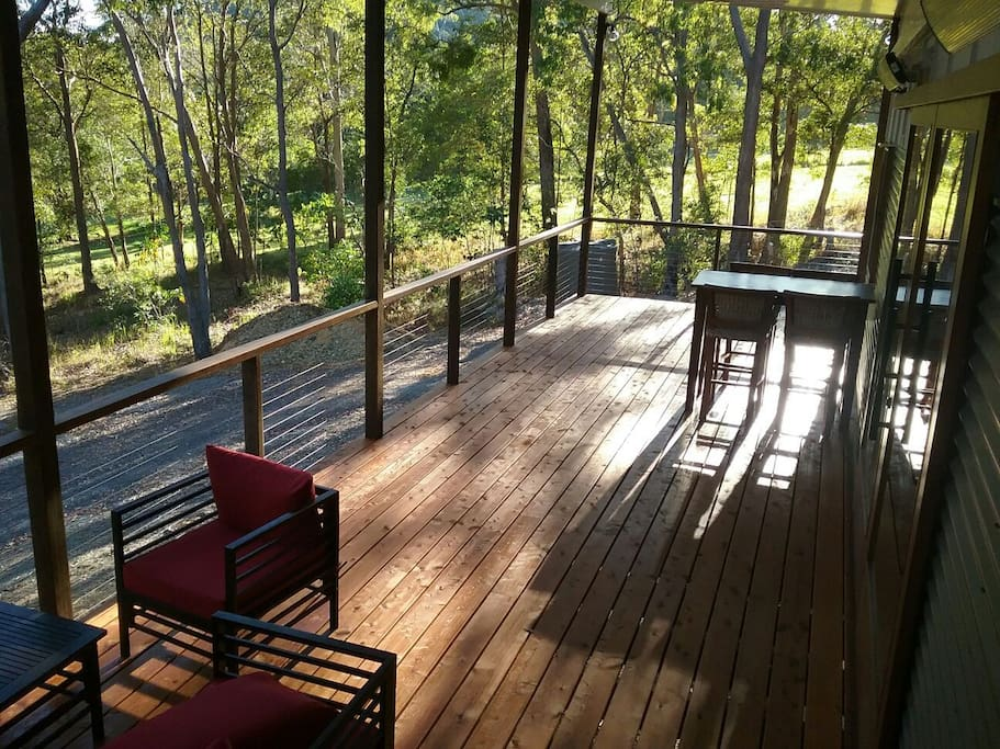 Beautiful spacious deck puts you in amid the trees   - look out for the squirrel gliders