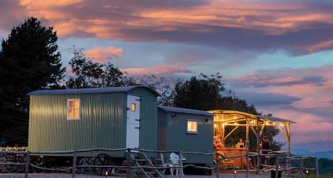 glamping shepherd huts at free range escapes ni