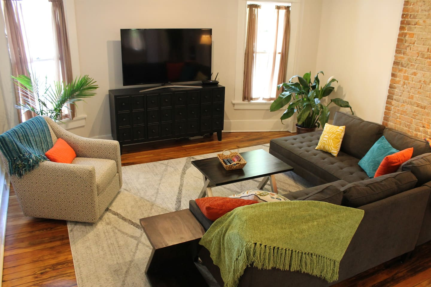 This apartment has been newly renovated.  This is the large open living area with pine floors.