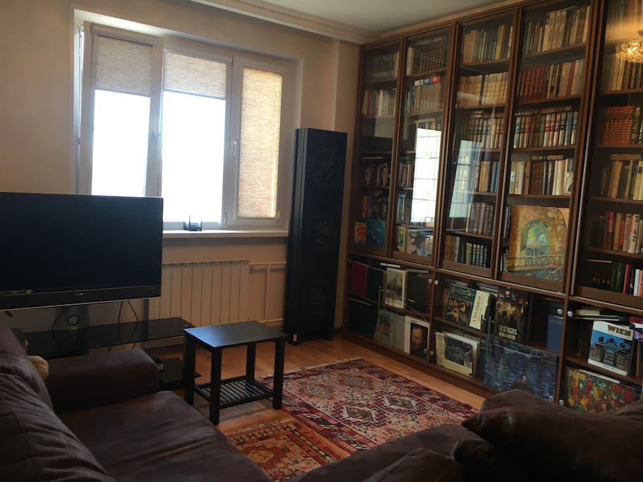 Guestroom. We still keep our books here, so feel free to have a look and read. Most books are in Russian, but some are in English and there are a few albums on art as well
