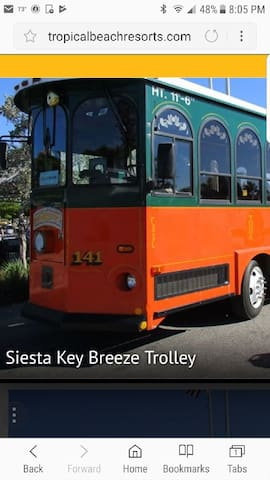 Free trolley to Siesta Key Village and beach!!