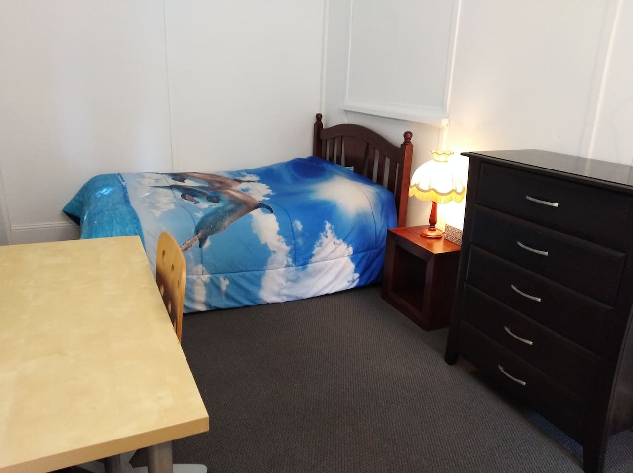 Double bed, drawers, desk, bedside, WiFi