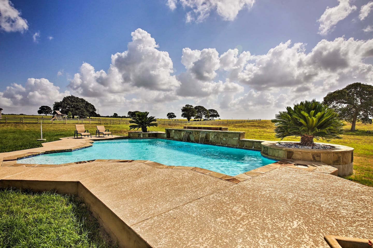 Swim laps in the private pool at this La Vernia vacation rental house.