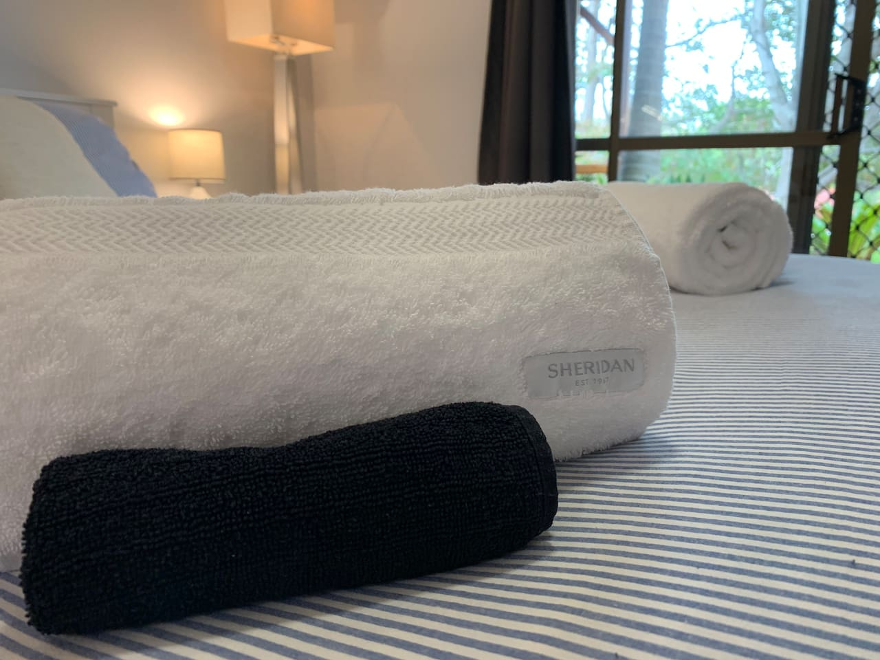 Hotel grade linen and Sheridan towels for premium comfort.