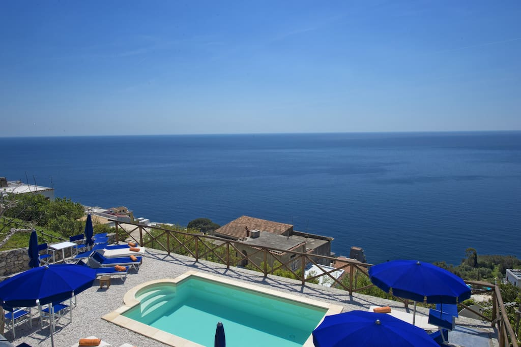 Shared Pool with magical View over the Sea, Positano, Capri and Li Galli Island. The pool is shared with nearby B&B The Mill in Praiano