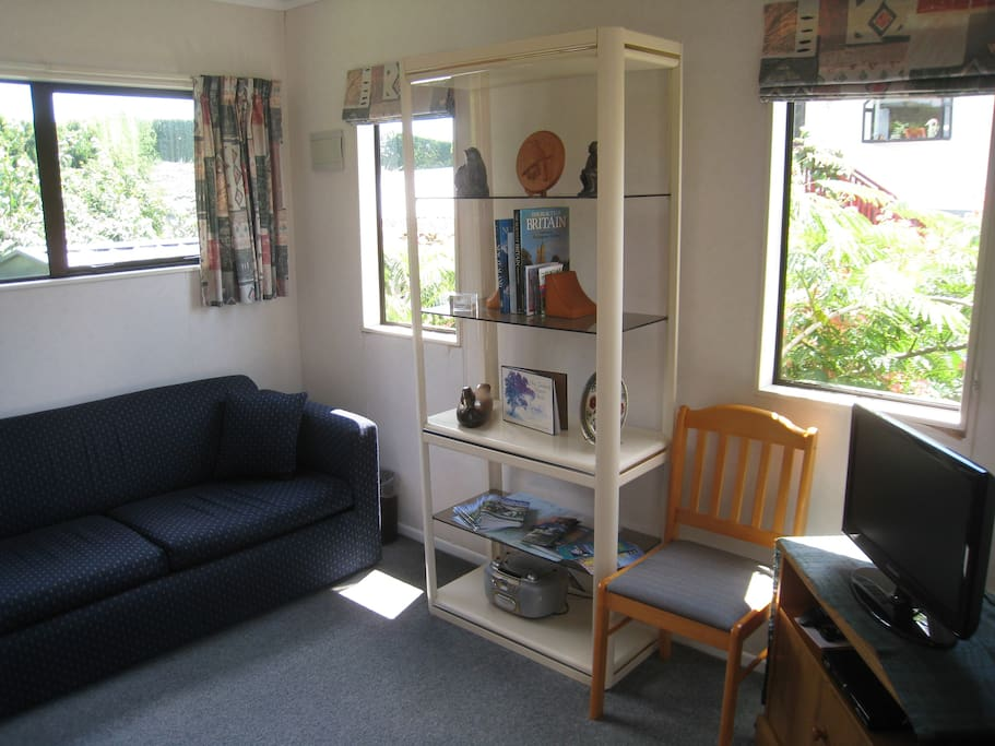 Sunny sitting area with farm views