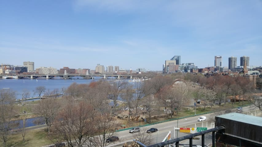 View of the Charles River from the private back balcony overlooking Storrow Drive.