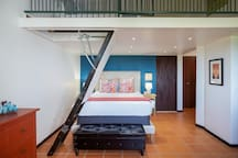Pull out staircase that lead to the twin bedroom