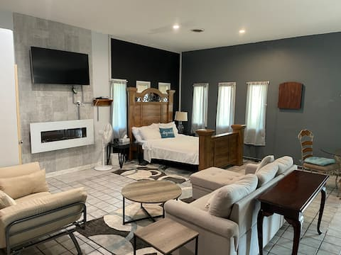 Modern luxurious getaway space with a sauna