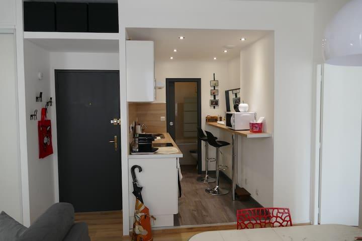 A côté de l'entrée de l'appartement, la cuisine, au fond la salle de bain