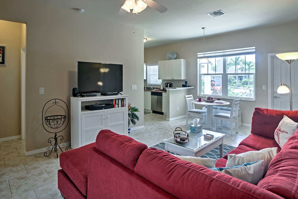 Watch movies on the flat-screen cable TV from the comfort of the sectional.