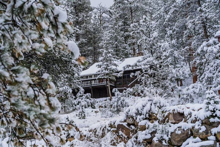 During the winter, the cabin is a snowy wonderland.