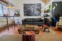 Living room sofa and bar table
