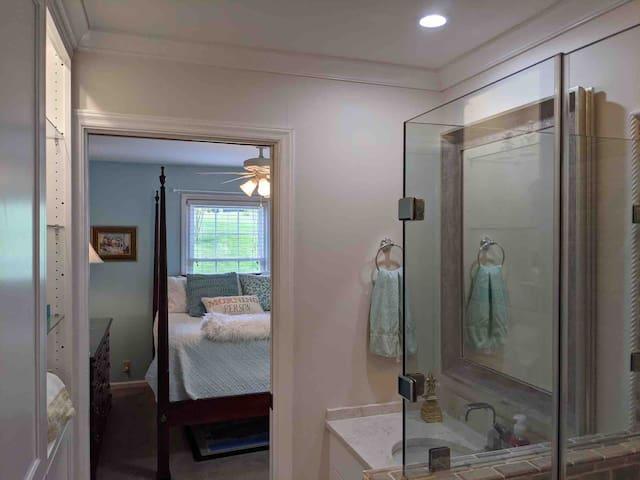 Peek of the master bedroom from the en suite bathroom! Full picture coming soon!