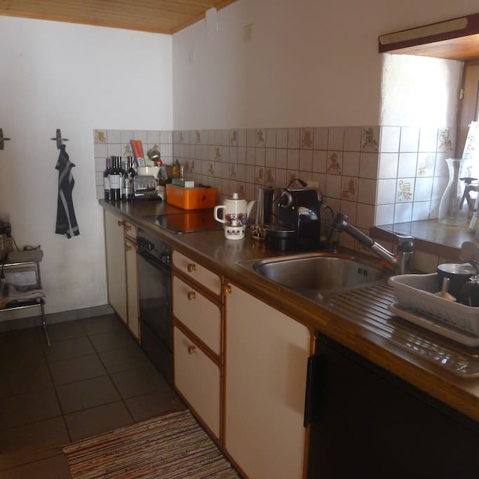 On the first floor,an open-plan kitchen