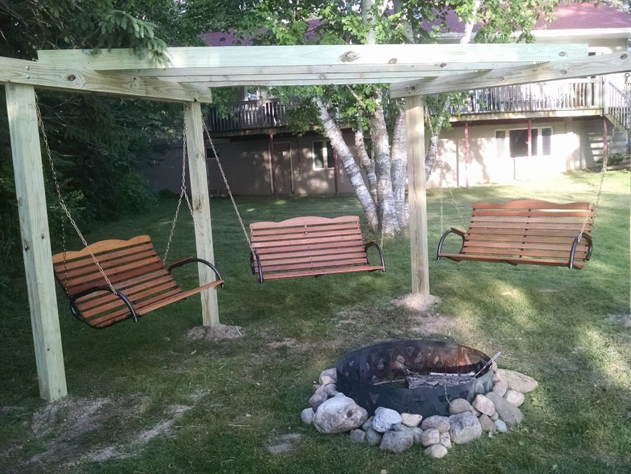 fire pit swings overlooking the bluff