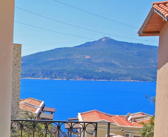 View from apartment terrace looking out at Kalkan Bay