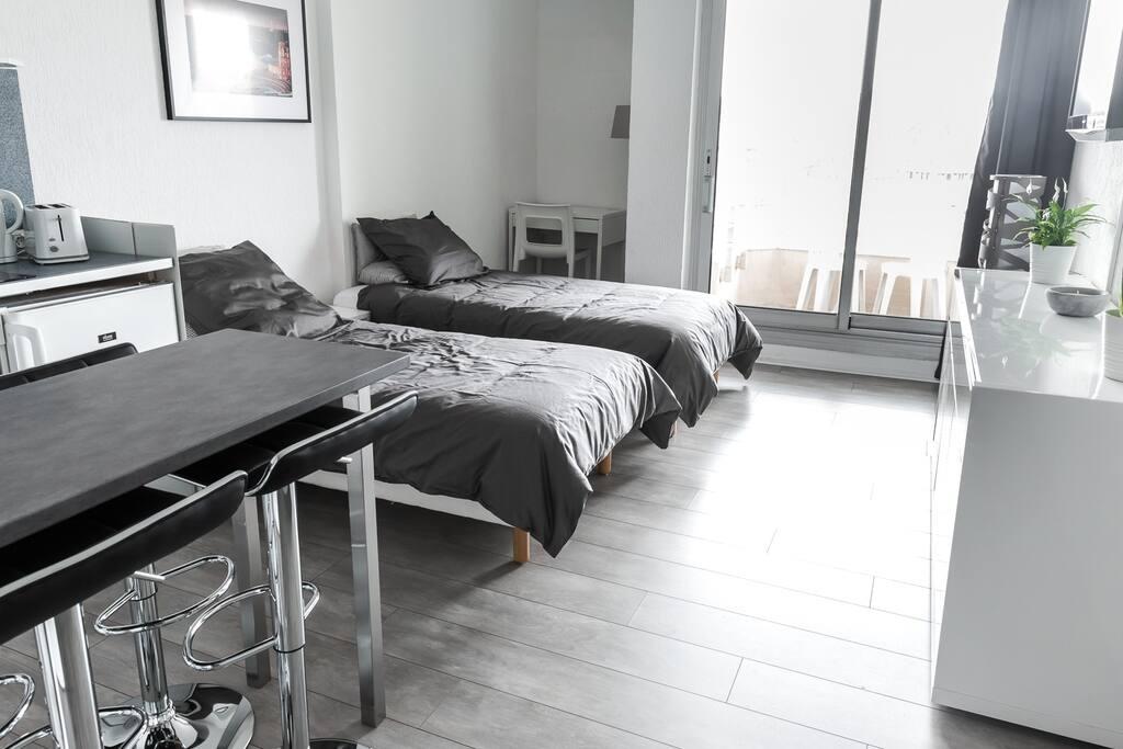 Disposition en 2 lits séparés