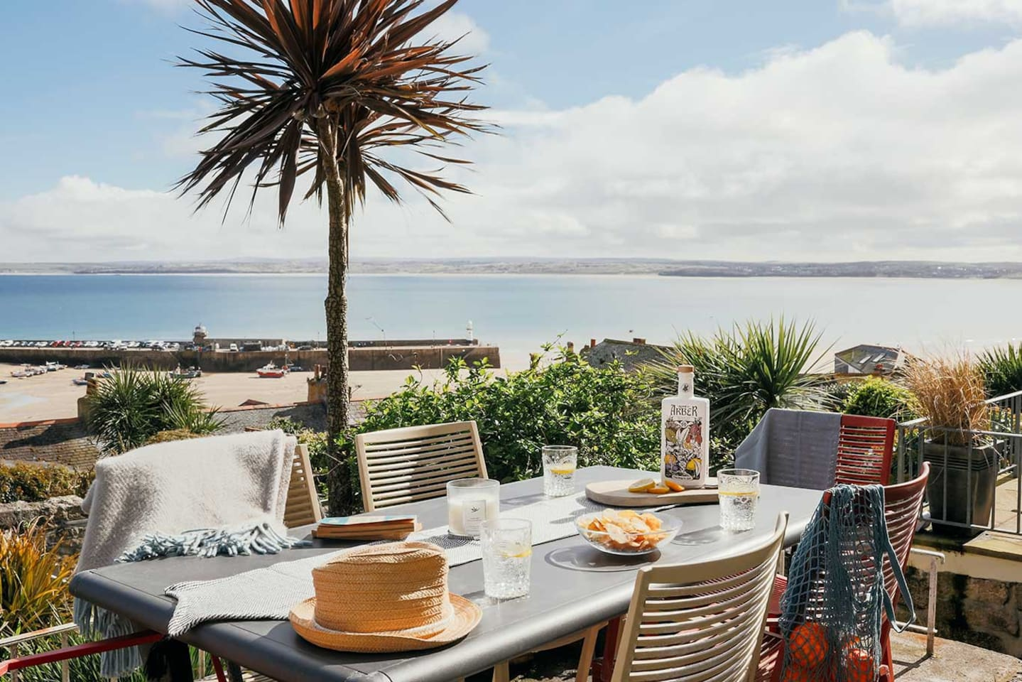Outside terrace with stunning views towards St Ives Harbour and Godrevy