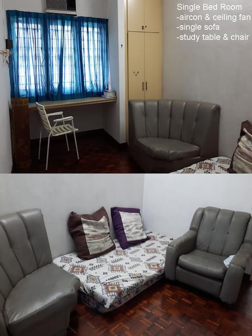 Single Bed Room with sofa, air-con, study table, ceiling fan