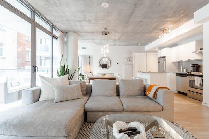 Modern Industrial Design Condo with Private Balcony