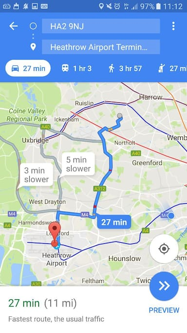 heathrow to property by car