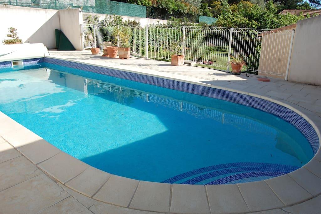 Grande piscine 5x11m, clôturée et sécurisée