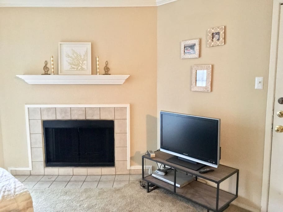 TV and fireplace in living room