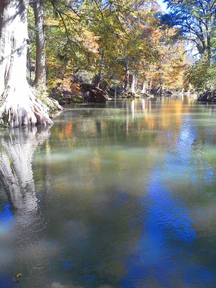 Guadalupe River just around the corner of our home:)