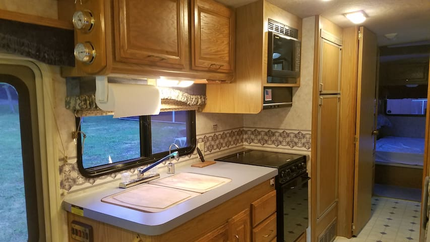 Sink, stove, microwave and refrigerator