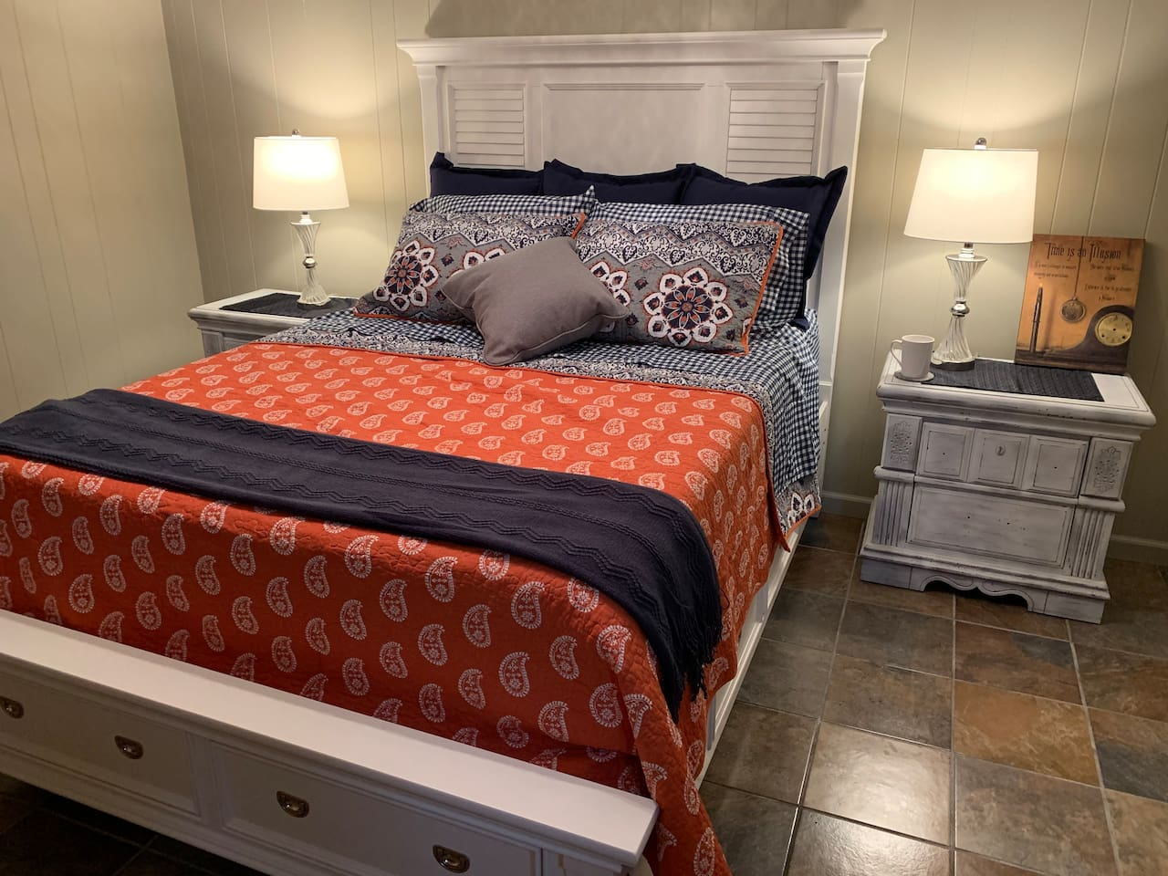 Comfortable private bedroom. Notice the sparkling clean glowing floors. Bedding is hand selected for softness and restful sleep. We want your stay to be relaxing and memorable.