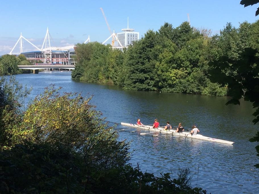 Rowers in front of the Principality Stadium