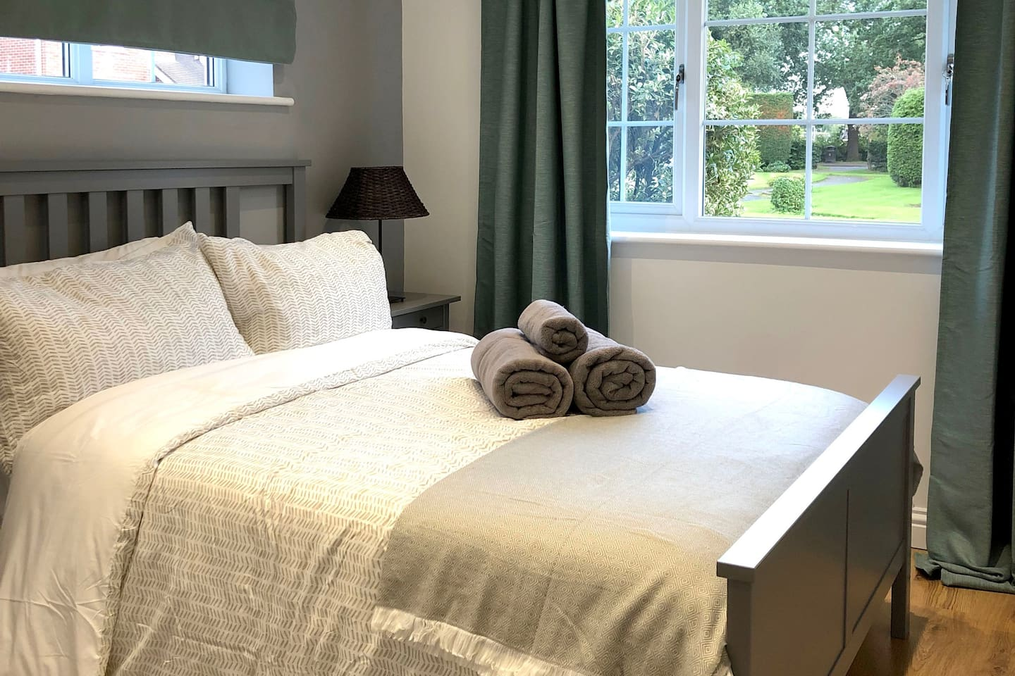 Comfy double bed with fresh linen