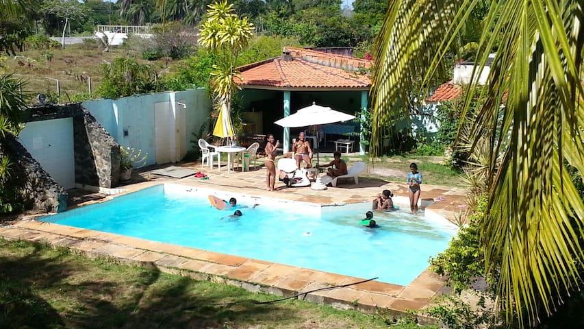 Area de entretenimento com piscina grande. Quiosque c churrasqueira balcão frezzer e pia. Rodeado por coqueiros e muito verde.