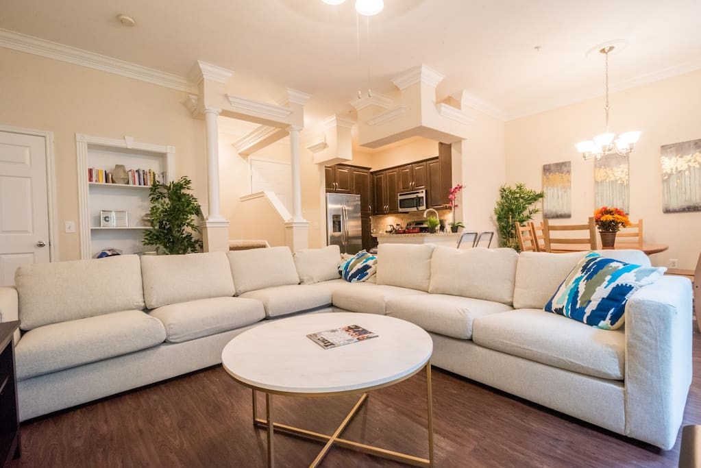 Cozy yet spacious, the living room area is a great place to meet new people and relax after a long day or trip.
