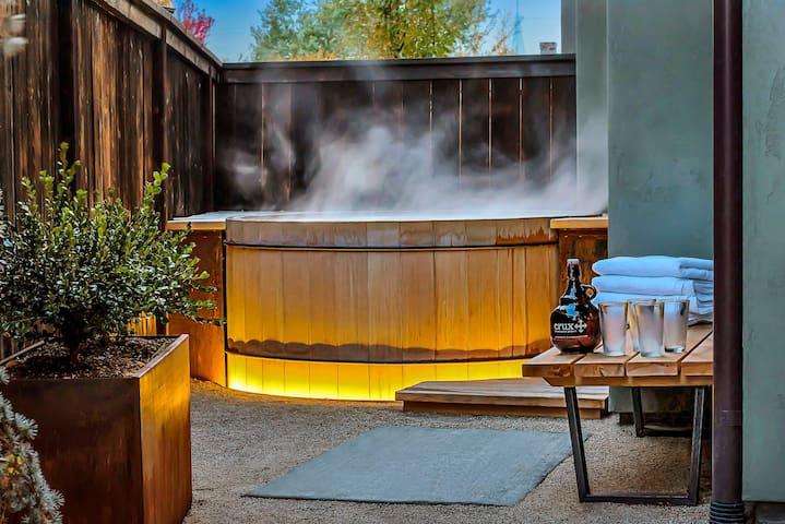 Handbuilt cedar hot tub