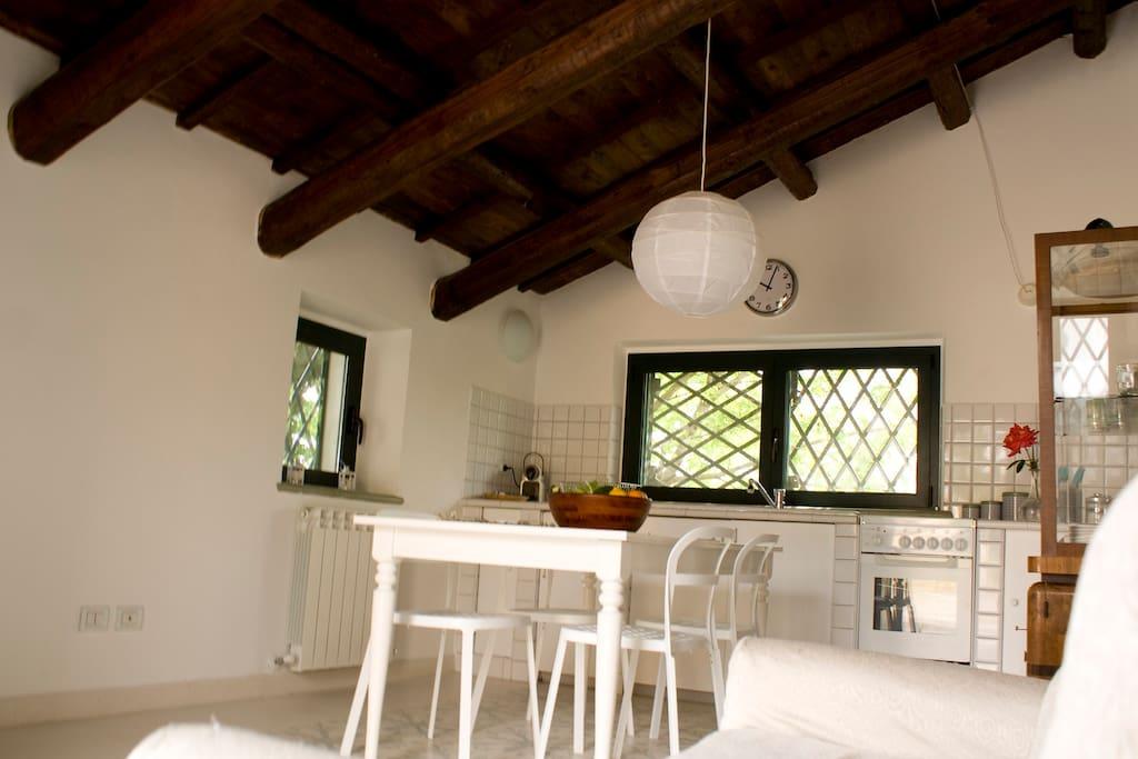 Grande e luminoso spazio living con cucina in muratura,doppio lavello comodo piano di lavoro.Tavolo da pranzo per 6 persone,divano e TV.