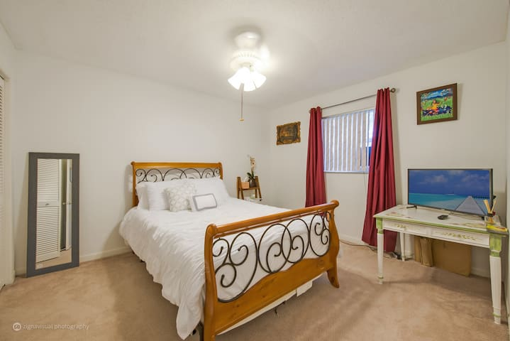 Good size bedroom with comfy queen size bed with every amenity except toothbrush.