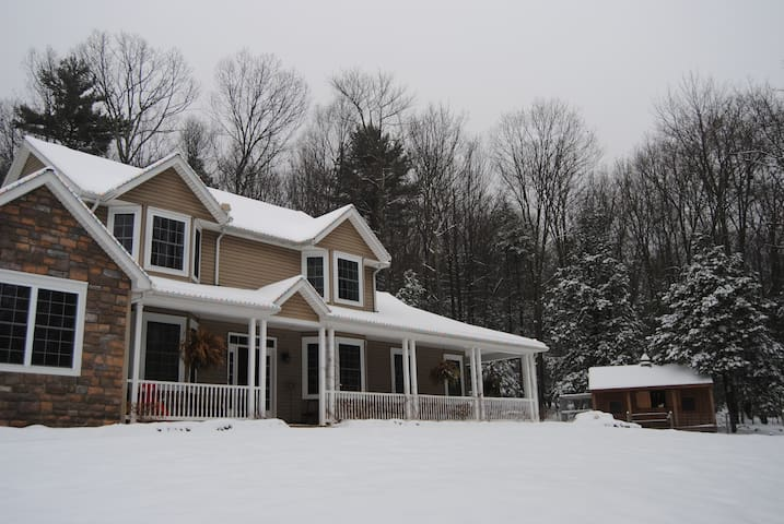 Our home in the beautiful winter scenery.