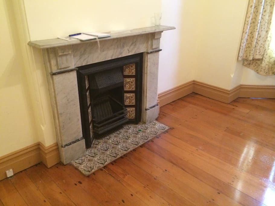 The old fireplace in the room